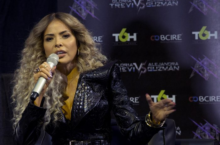Mexican singer Gloria Trevi offers a press conference at the Staples Center in Los Angeles, United States, on 25 May 2017. EFE/Saalik Khan