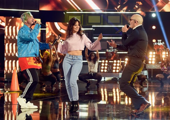 LOS ANGELES, CA - MAY 06: Recording artist J Balvin, singer Camila Cabello and rapper Pitbull perform onstage during the 2017 MTV Movie And TV Awards Rehearsals at The Shrine Auditorium on May 6, 2017 in Los Angeles, California. (Photo by Kevin Winter/Getty Images)