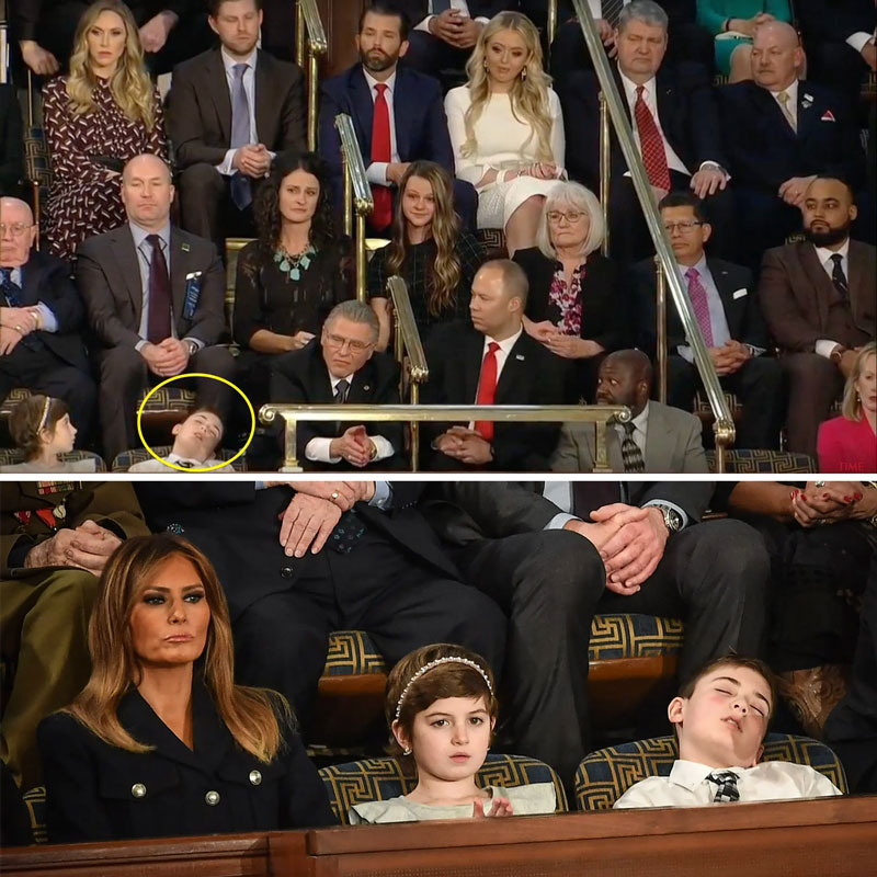 BOY INVITED BY PRESIDENT TRUMP FALLS ASLEEP DURING HIS SPEECH