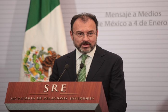 Mexico's new Foreign Minister Luis Videgaray speaks at a press conference after his oath of office in Mexico City, Mexico, 04 January 2017. President Enrique Pena Nieto substitued Claudia Ruiz Massieu for Videgaray, the man in charge to coordinate the visit of US President-elect Donald Trump to the country last September. EFE/Sashenka Gutierrez