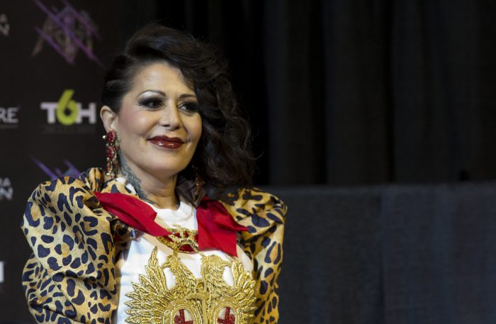 Mexican singer Alejandra Guzman offers a press conference at the Staples Center on Thursday 25 May 2017. EFE/Saalik Khan